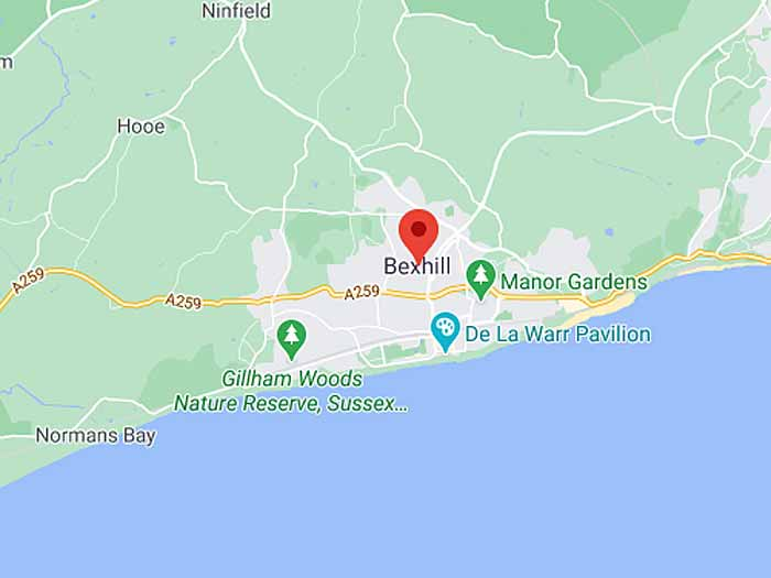 google map of bexhill-on-sea
