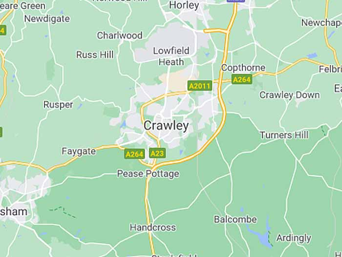 google map of crawley