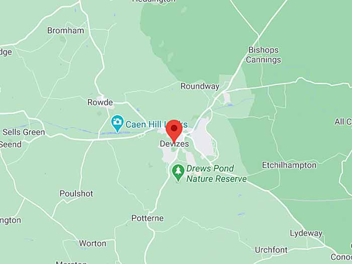 google map of devizes, wiltshire