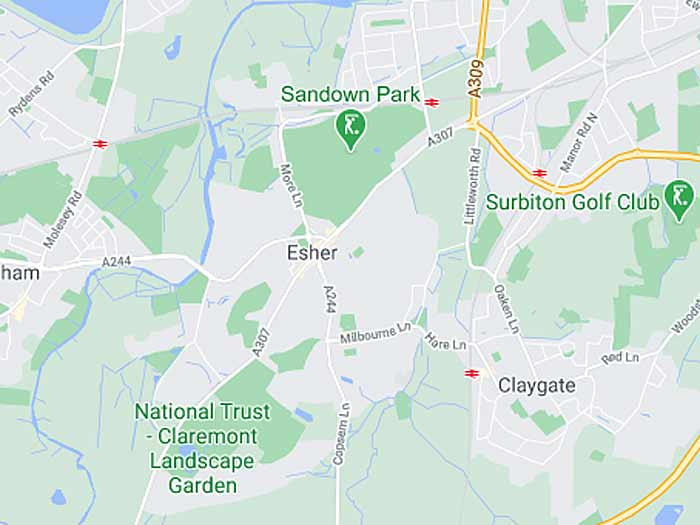 google map of esher