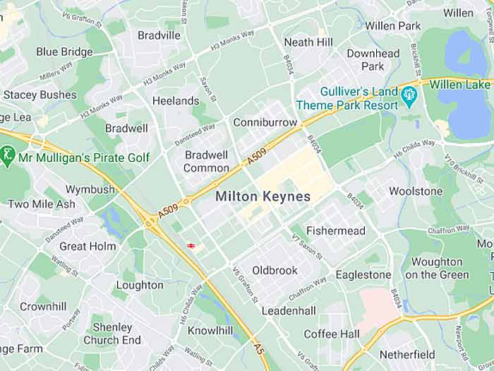google map of milton-keynes